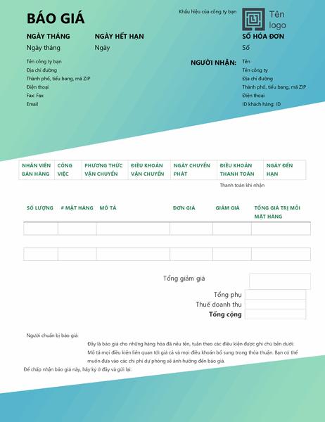 Báo giá bán hàng (thiết kế Chuyển màu lục)