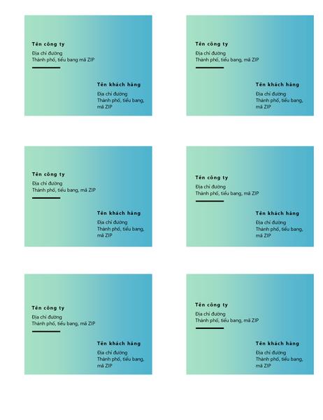 Nhãn gửi hàng (Thiết kế chuyển màu màu lục, 6 nhãn trên mỗi trang, phù hợp với Avery 5164)