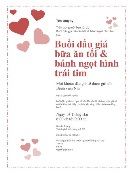 Thư mời đấu giá bánh ngọt hình trái tim nhân Ngày Lễ Tình Nhân
