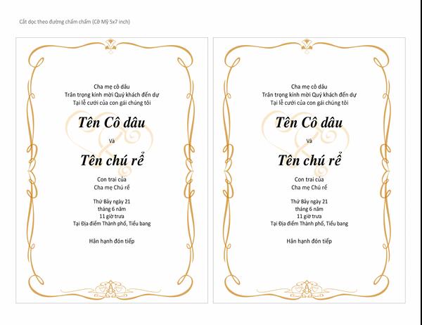 Thiệp mời đám cưới (Thiết kế Trái tim uốn lượn, cỡ A7, 2 thiệp mỗi trang)