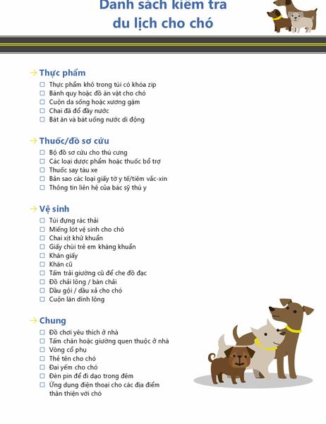 Danh sách kiểm tra du lịch của chó