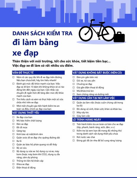 Danh sách kiểm tra đi lại bằng xe đạp