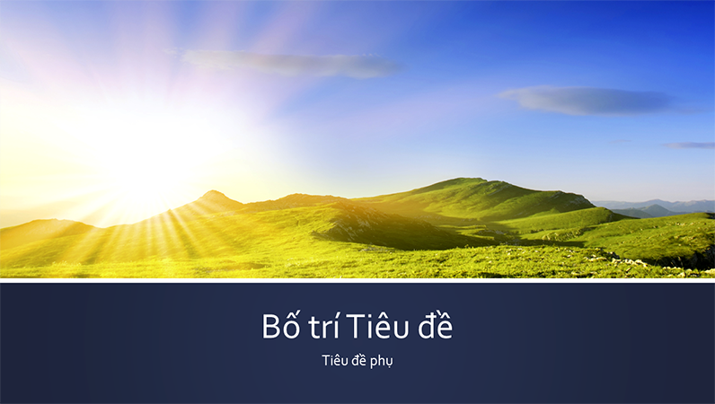 Bản trình bày tự nhiên có dải băng màu lam với ảnh bình minh trên núi (màn hình rộng)