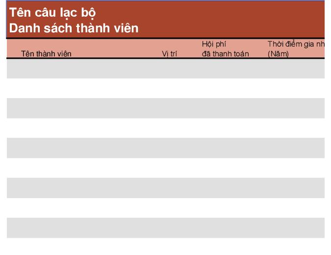 Danh sách hội viên