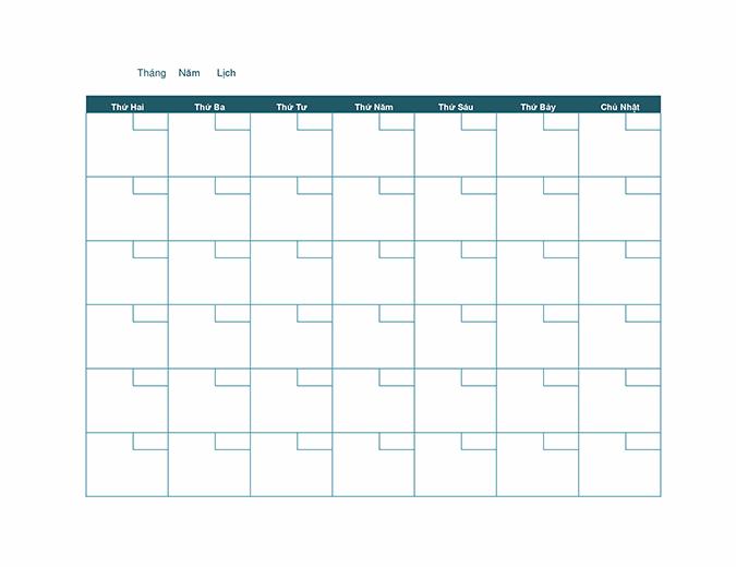Lịch hàng tháng trống