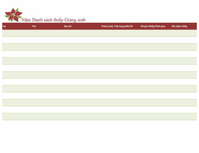 Danh sách thiếp Giáng sinh