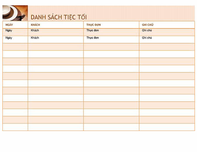 Danh sách tiệc tối với thực đơn