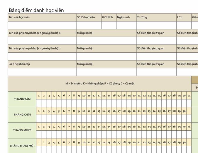 Bảng điểm danh học viên (đơn giản)