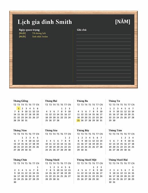 Lịch gia đình (tất cả mọi năm, CN-T7)