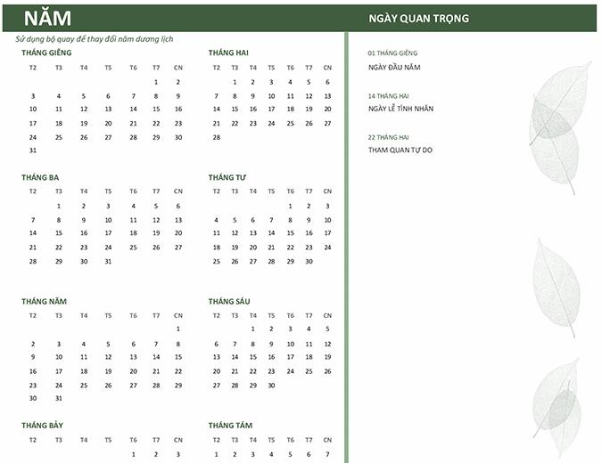 Lịch doanh nghiệp (năm bất kỳ, T2-CN)