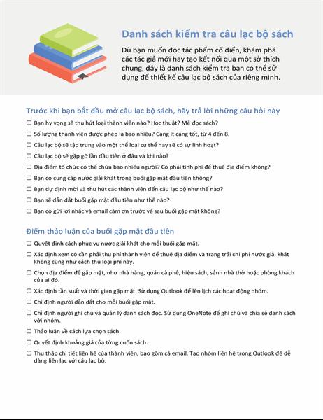 Danh sách kiểm tra câu lạc bộ sách