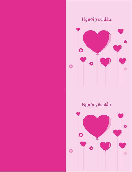 Thiệp bong bóng hình trái tim vào Ngày tình nhân