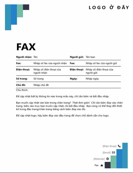 Tờ thông tin bản fax có các bậc màu lam
