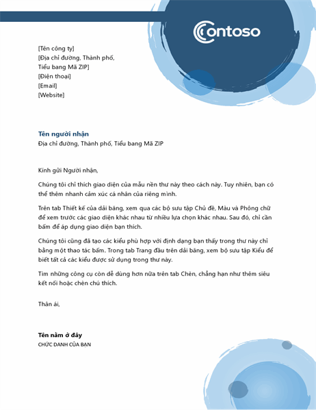 Tiêu đề thư khối cầu xanh lam
