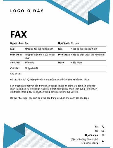 Trang bìa fax có dải sọc mảnh