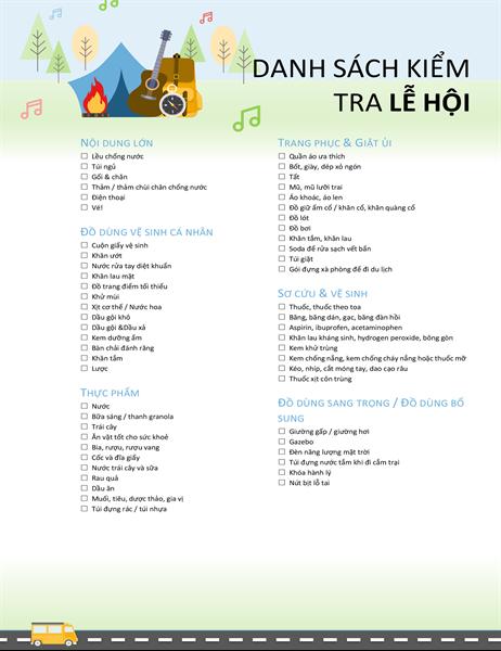 Danh sách kiểm tra lễ hội