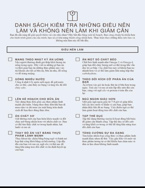 Danh sách kiểm tra những điều nên làm và không nên làm khi giảm cân