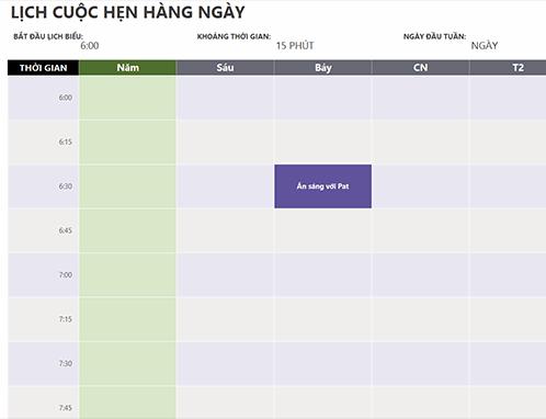 Lịch cuộc hẹn hàng ngày
