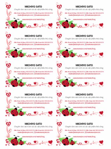 Danh thiếp (bọ rùa và trái tim, căn giữa, 10 danh thiếp mỗi trang)
