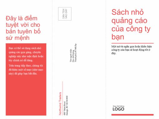 Kinh doanh gấp ba, sách nhỏ quảng cáo y tế (thiết kế màu đỏ, trắng)