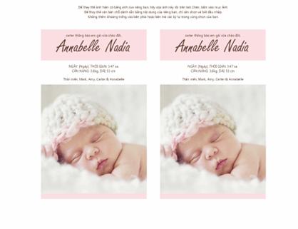 Thông báo sự chào đời của bé gái