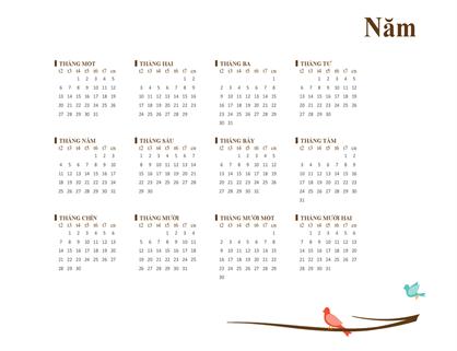 Lịch năm chim chóc (T2-CN)