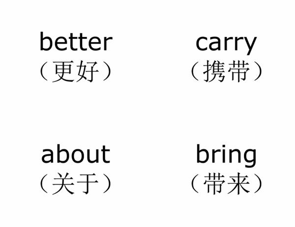 词汇表教学卡片(Dolch 第三类常用单词;与 Avery 3263、8387 配套使用)