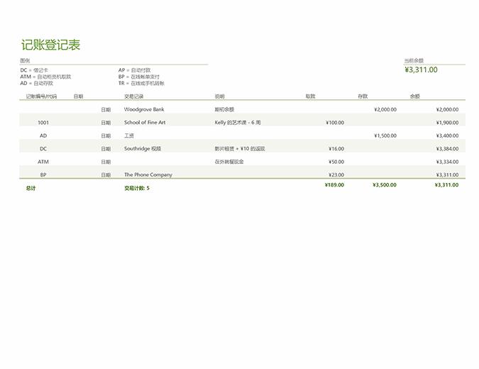 含交易记录代码的记账登记表