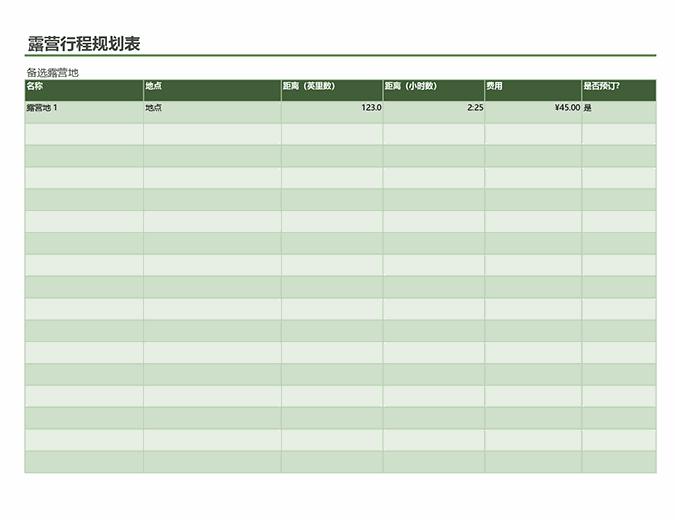 露营行程规划表