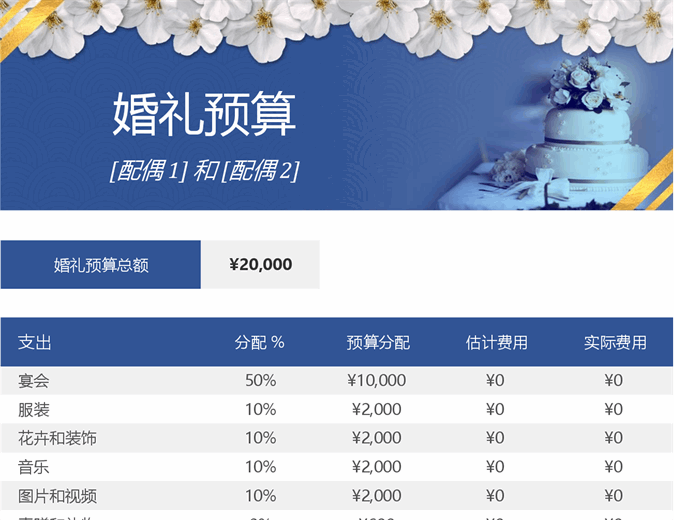 婚礼预算跟踪表
