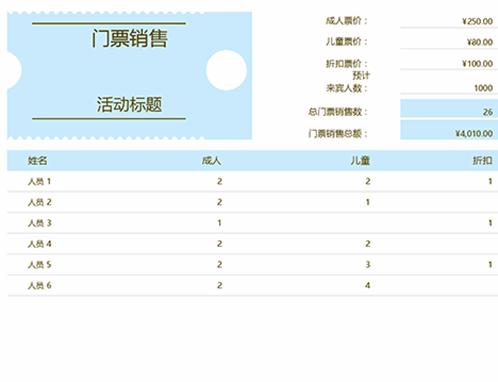 门票销售跟踪表