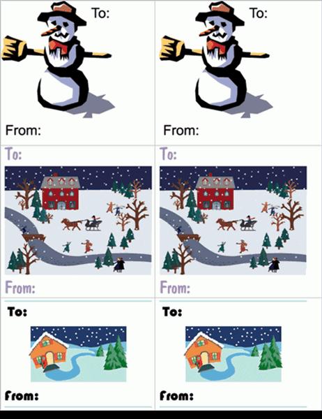 節日禮物標籤 (雪人圖樣; 一頁 6 張)