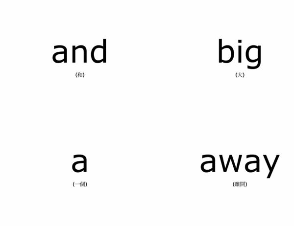 單字教學卡片 (Dolch 兒童常見字 - 前初階;使用 Avery 3263、8387)