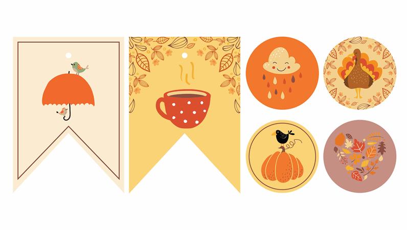 可列印的秋天派對裝飾