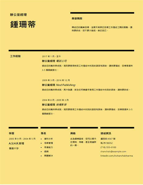 瑞士設計履歷表