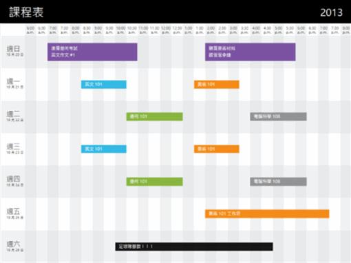 課程表 (依時間)