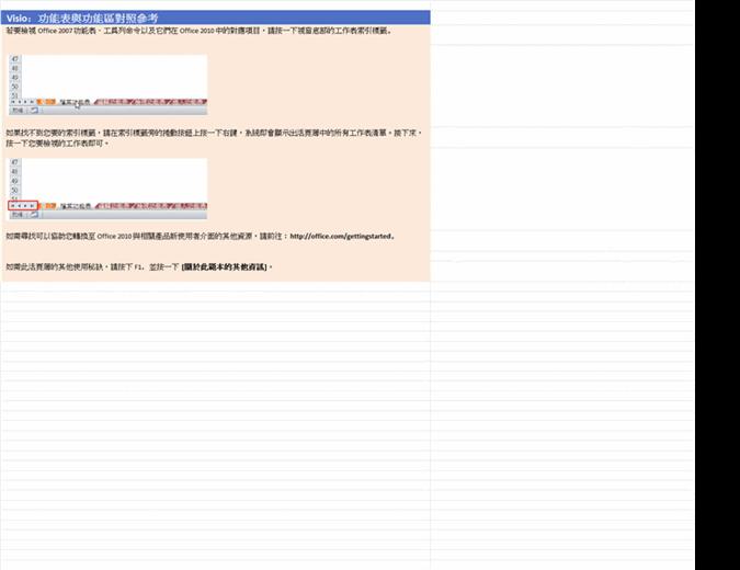 Visio 2010:功能區功能表參考活頁簿