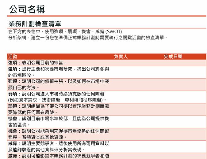 含有 SWOT 分析的業務計劃檢查清單