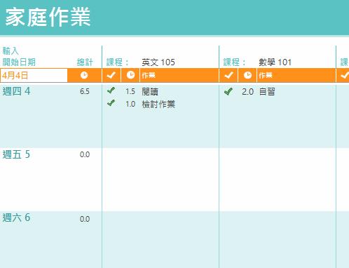 家庭作業時間表